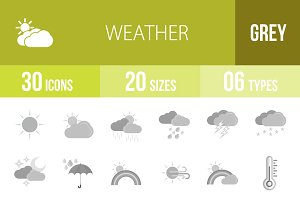 30 Weather Greyscale Icons