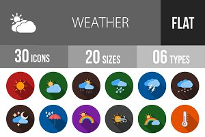 30 Weather Flat Shadowed Icons