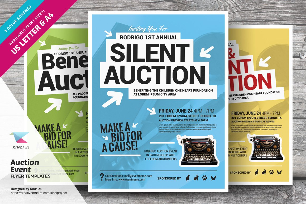 Auction Event Flyer Templates Creative Photoshop Templates