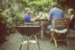 Barbecue dinner in garden