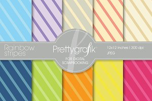 Rainbow stripes digital paper