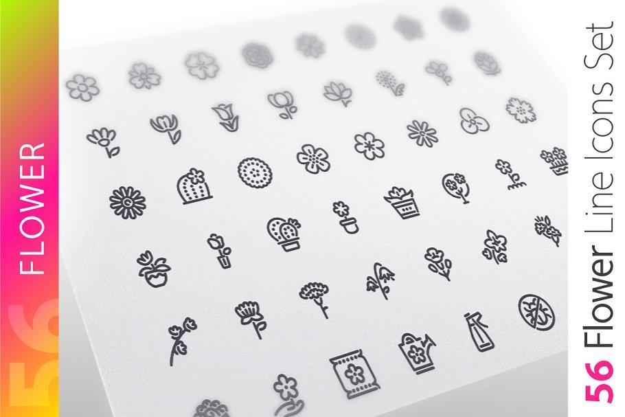 Flower Line Icons Set