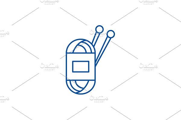 Yarn line icon concept. Yarn flat