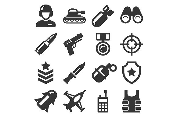 Army, Military and War Icons Set