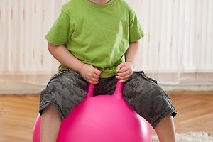 Boy with large ball