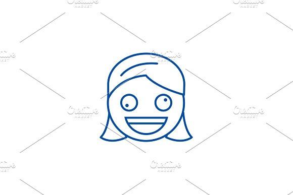 Zany face emoji line icon concept