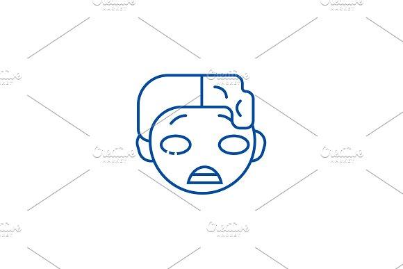 Zomby emoji line icon concept. Zomby