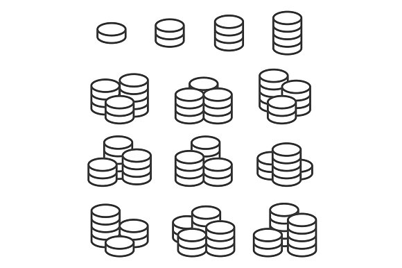 Outline Coins Icons Set