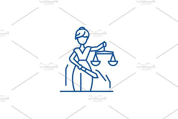Justice statue line icon concept