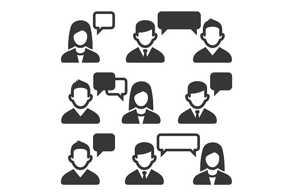 Talking and Speaking People Icons