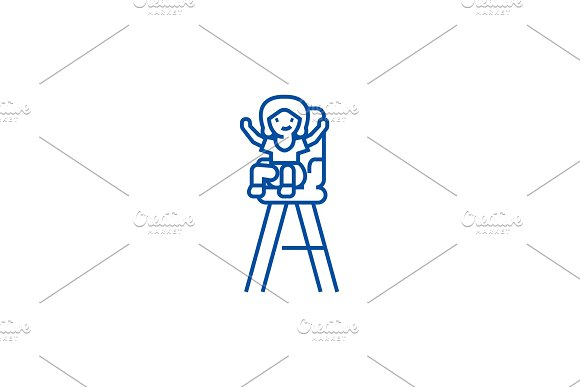 Kid in child chair line icon concept
