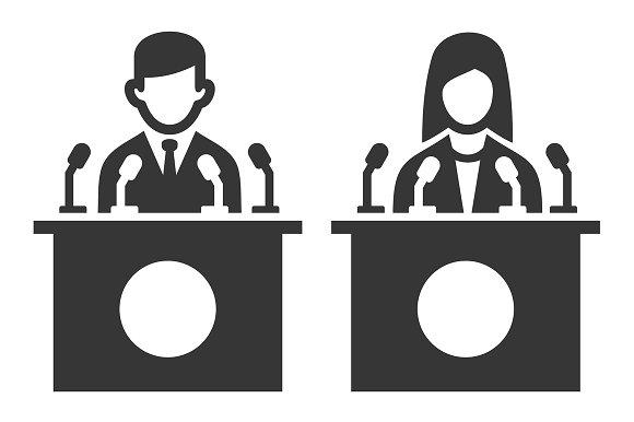 Public Speaker Icon Set