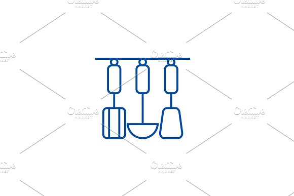 Kitchen hanging utensils line icon