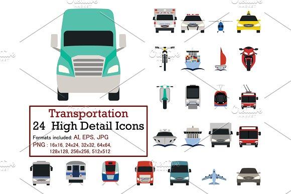 Set of 24 Transportation Icons
