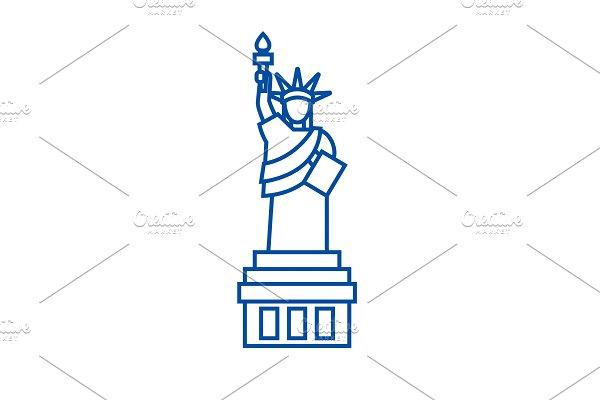 Liberty statue line icon concept