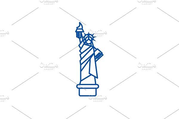 Liberty statue, new york line icon
