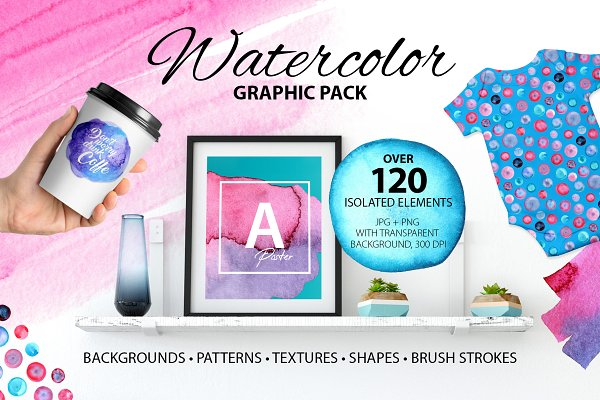 Watercolor graphic pack