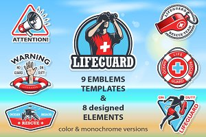 Set of lifeguard emblems