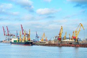 Loading cargo ship in Odessa port