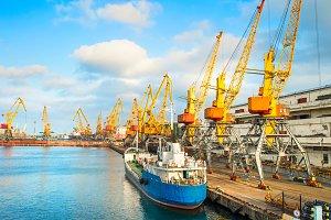Cranes in seaport.Odessa,Ukraine