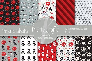 Pirate skulls digital paper
