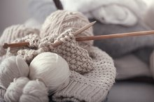 knitted fabrics and knitting needles by  in Arts & Entertainment