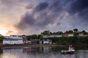 Portree harbor and houses. Skye