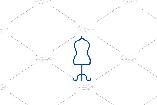 Fashion mannequin line icon concept