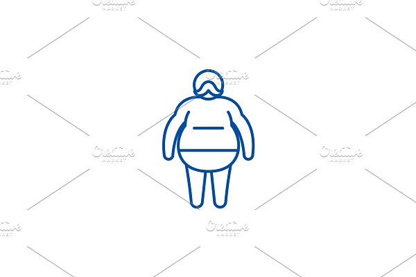 Fat man line icon concept. Fat man