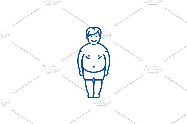 Fatty man,fat guy line icon concept