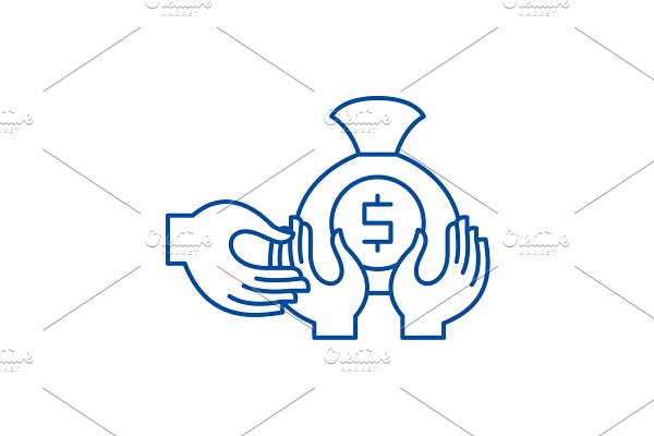 Financial fraud line icon concept