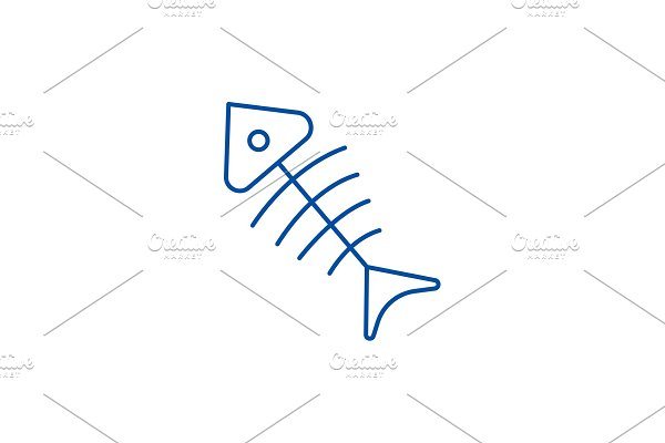 Fish skeleton line icon concept