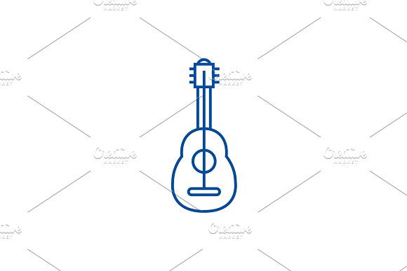 Flamenco guitar line icon concept