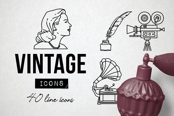40 Vintage Icons Set - Retro Antique