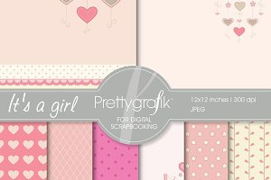 baby girl digital paper, commercial