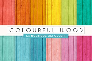 Colourful Wood Digital Papers