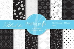 Black tie digital paper, commercial