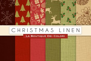 Christmas Linen Digital Papers