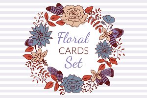 4 Floral Save the Date Cards Set