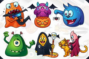 Cute Cartoon Monsters Set