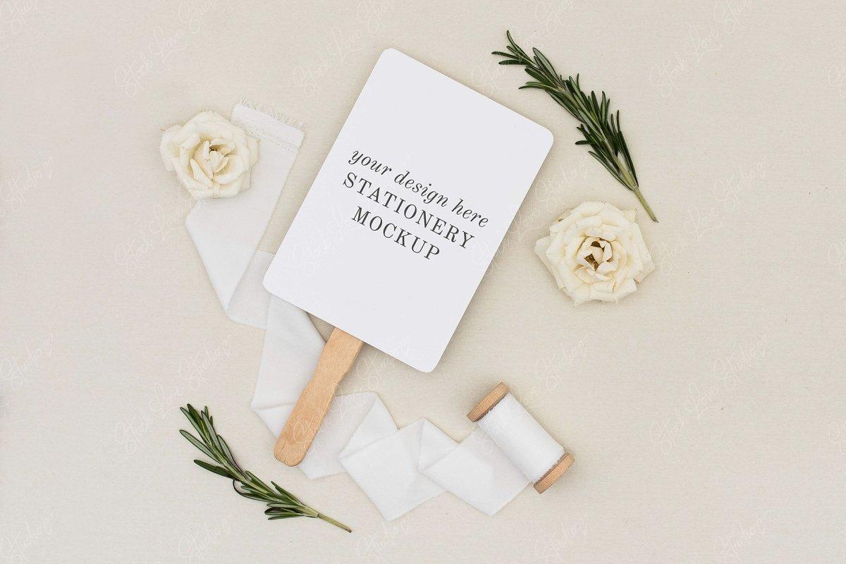 Wedding Program Fan Mockup
