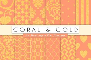 Coral & Gold Digital Papers