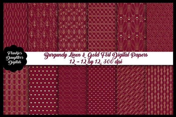 Burgundy Linen & Gold Foil Papers