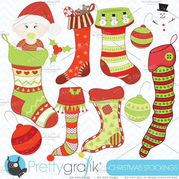 christmas stockings clipart ~ Illustrations on Creative Market