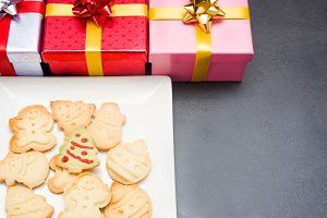Christmas cookies and gift boxes