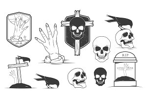 Vector halloween labels.
