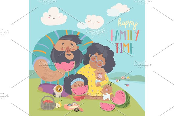 Happy family on a picnic. Dad, mom