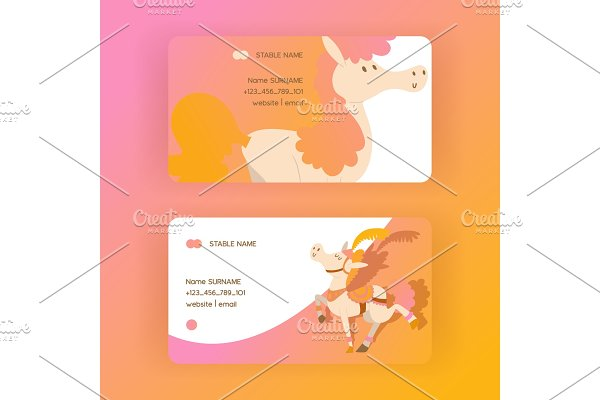 Kids horse vector business-card