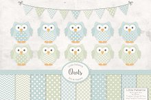 Pastel Owls, Banners and Papers