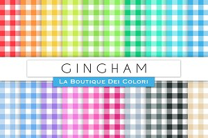 Colourful Gingham Digital Papers